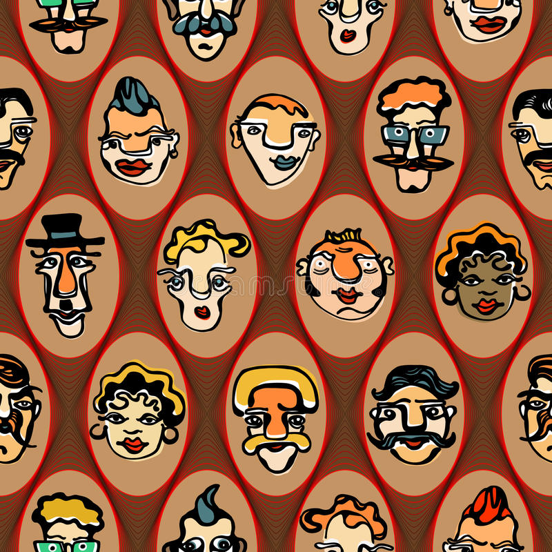 Kleurrijke illustratie van grappige gezichten naadloos stock foto's
