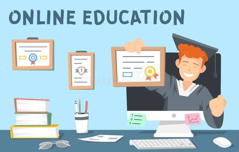 Kleurrijke illustratie van online onderwijs Illustartion toont ook boeken, computer, glazen, kantoorbehoeften royalty-vrije illustratie