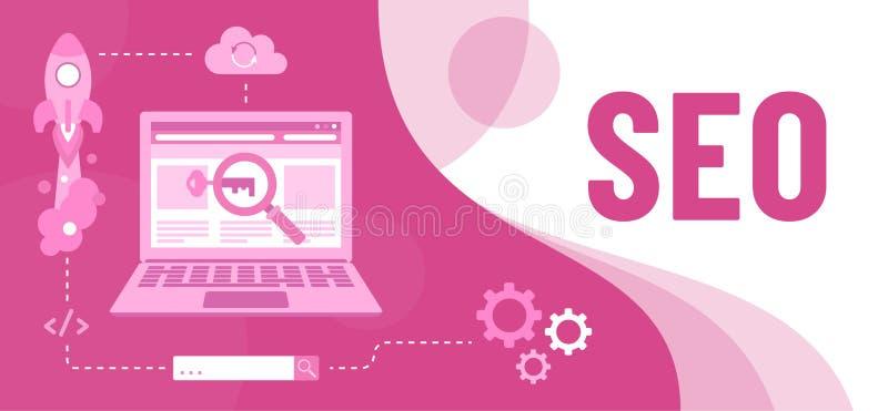 Kleurrijke illustratie van SEO als hulpmiddel marketing vector illustratie