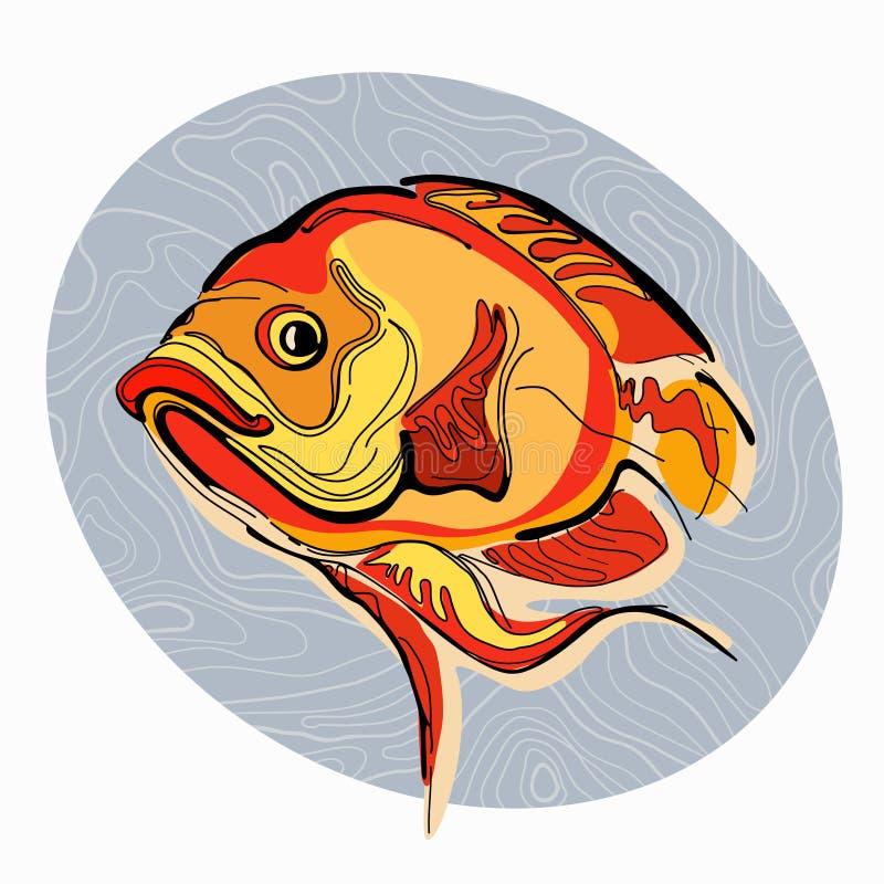 Kleurrijke illustratie van vissen 1 stock afbeeldingen