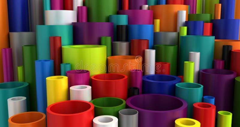 Kleurrijke Industriële Plastic Pijpen royalty-vrije illustratie
