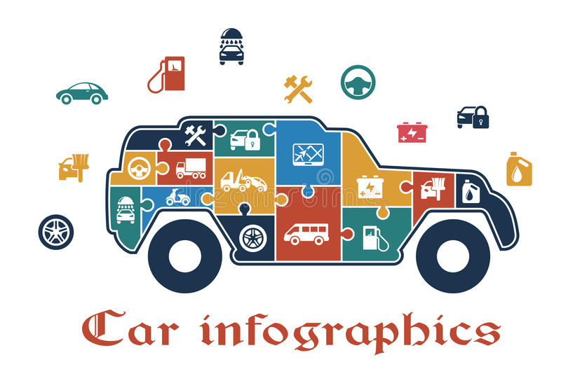 Kleurrijke infographic raadselauto stock illustratie