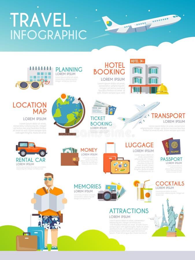 Kleurrijke infographic reis Het concept infographics voor uw zaken, websites, presentaties, die enz. adverteren qua stock illustratie