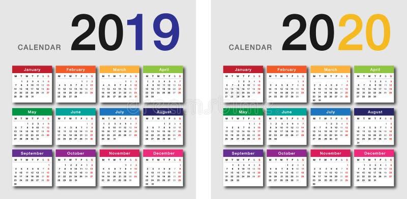 Kleurrijke Jaar 2019 en Jaar 2020 kalender horizontale vectorontwerpsjabloon, eenvoudig en schoon ontwerp stock afbeelding