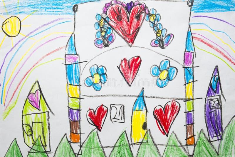 Kleurrijke jong geitje` s tekening van een fantastisch middeleeuws kasteel met hart stock afbeelding