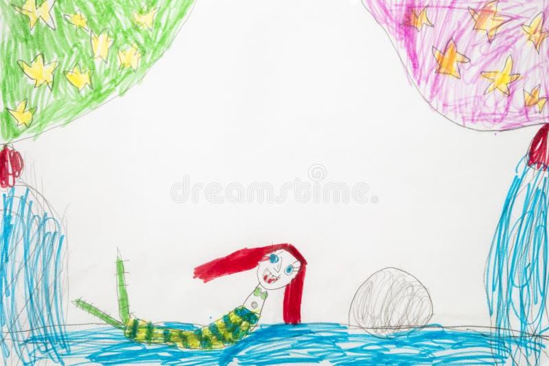 Kleurrijke jong geitje` s tekening van sirene of meermin in water met copyspa royalty-vrije stock foto's