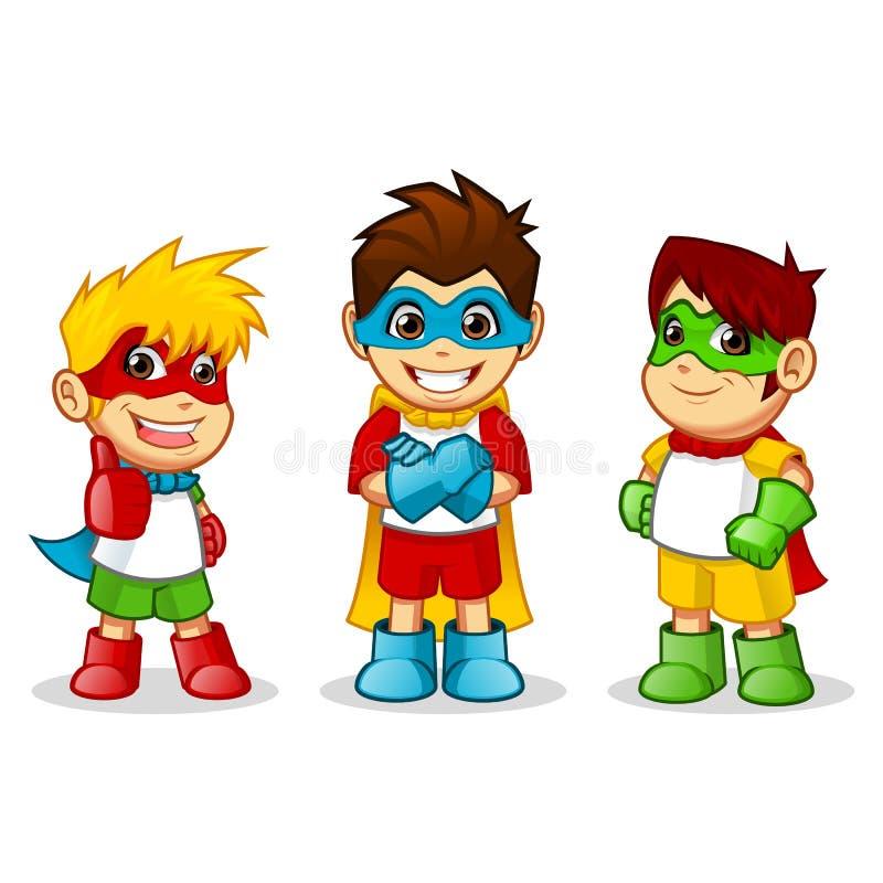 Kleurrijke Jong geitje Super Helden royalty-vrije illustratie