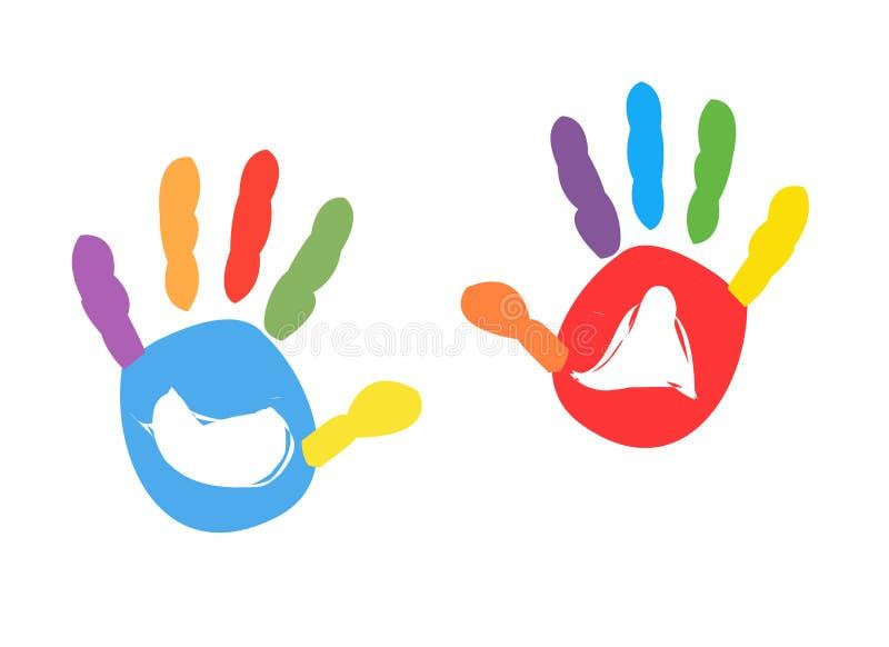Kleurrijke jonge geitjes handprint vectorillustratie vector illustratie
