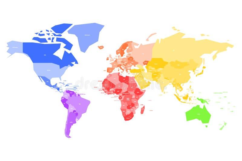 Kleurrijke kaart van Wereld Vereenvoudigde vectorkaart met de naametiketten van het land royalty-vrije illustratie