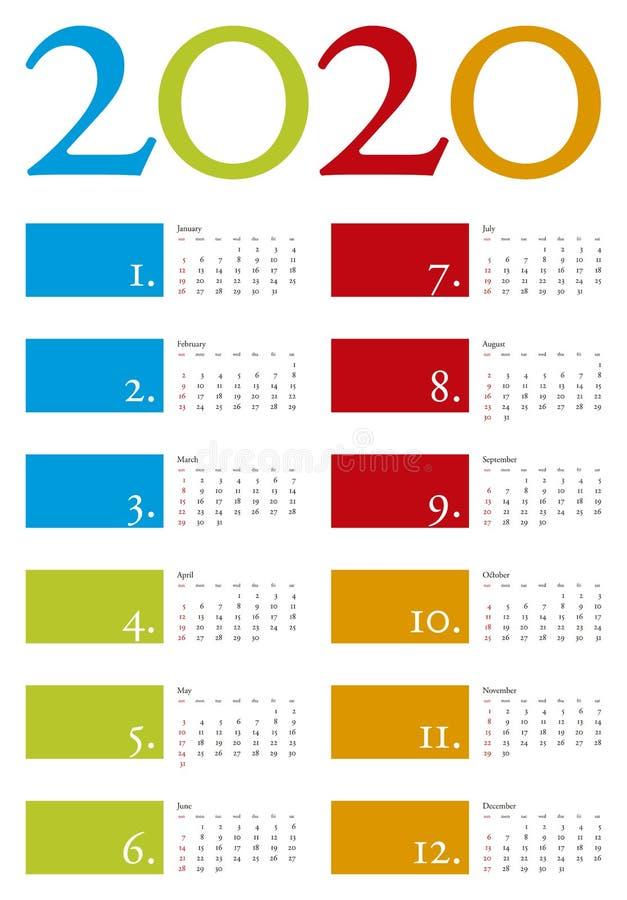 Kleurrijke Kalender voor jaar 2020 in vectorformaat royalty-vrije stock foto's