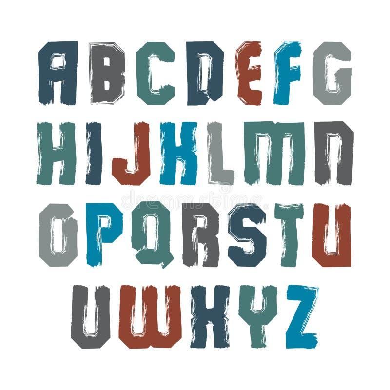 Kleurrijke kalligrafische borstelbrieven in hoofdletters, met de hand geschilderde brig stock illustratie
