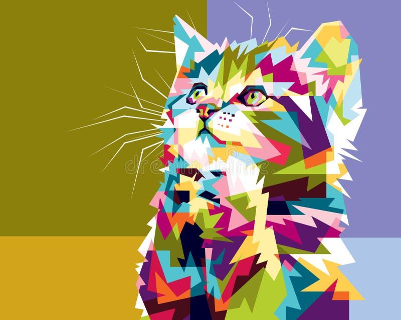 Kleurrijke kat hopelijk royalty-vrije stock afbeelding