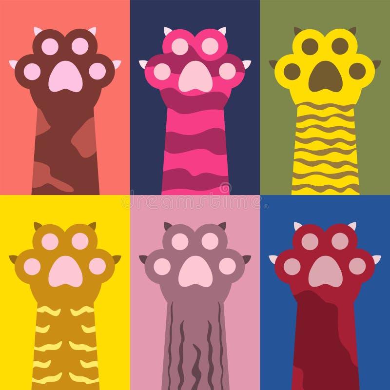 Kleurrijke kattenpoten met klauwenpatroon royalty-vrije stock afbeeldingen