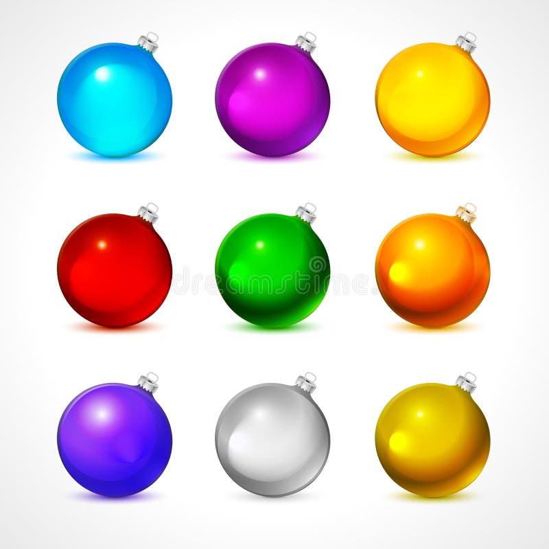 Kleurrijke Kerstmisballen Reeks geïsoleerde realistische decoratie Vector illustratie royalty-vrije illustratie