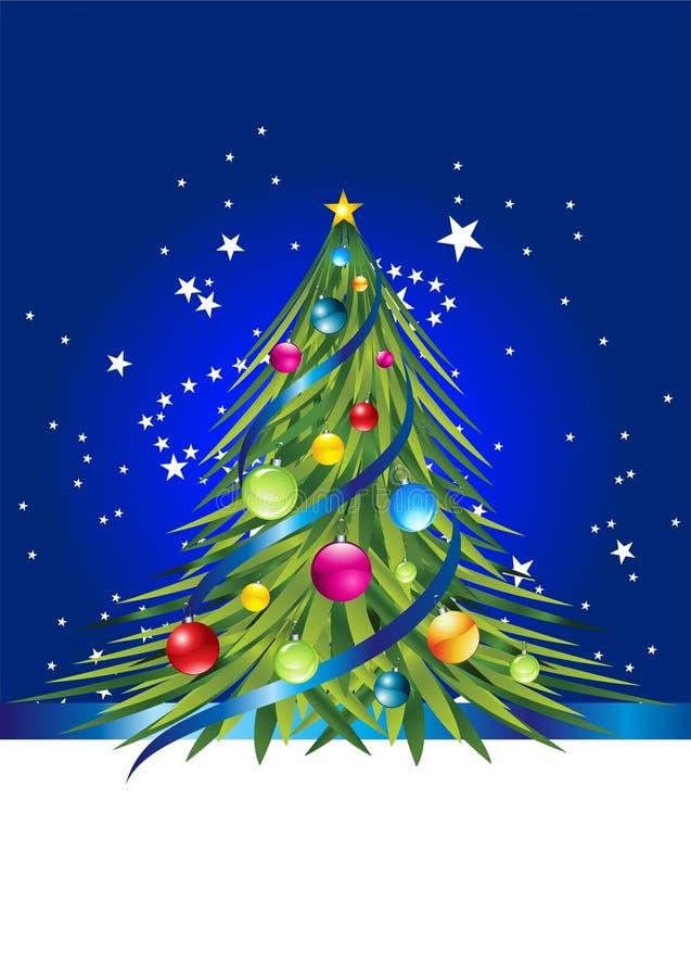 Kleurrijke Kerstmisboom en kleurrijke bal op het stock illustratie