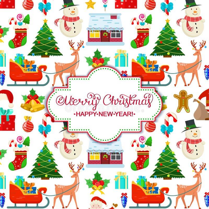 Kleurrijke Kerstmiskaart stock illustratie