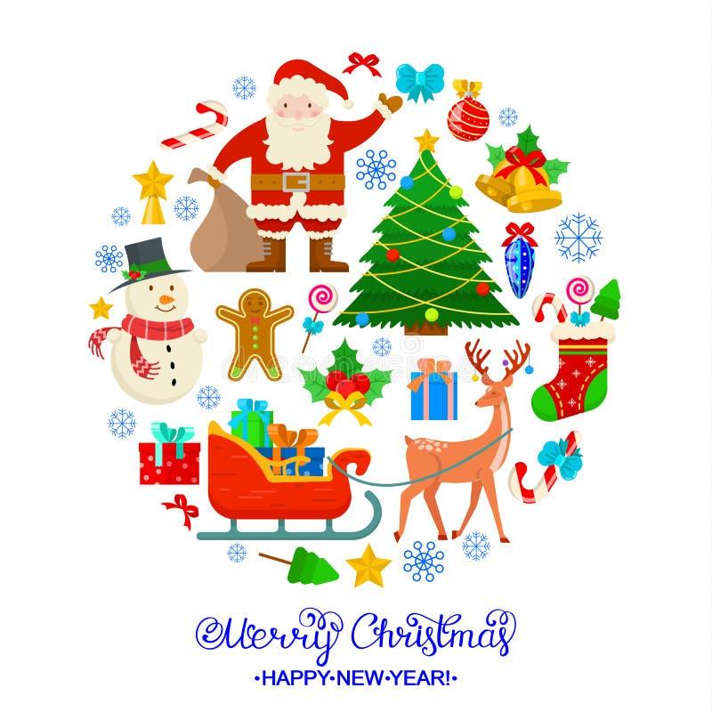 Kleurrijke Kerstmiskaart royalty-vrije illustratie
