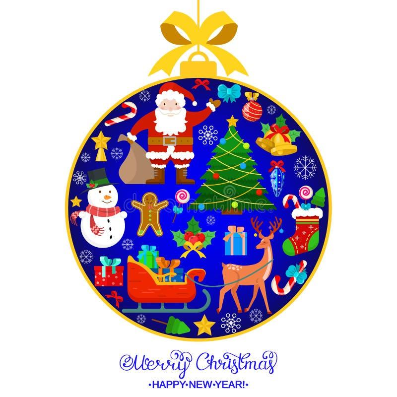 Kleurrijke Kerstmiskaart vector illustratie