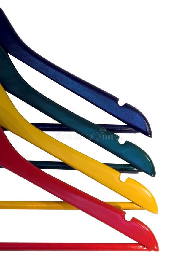 Kleurrijke kleren-hangers royalty-vrije stock fotografie