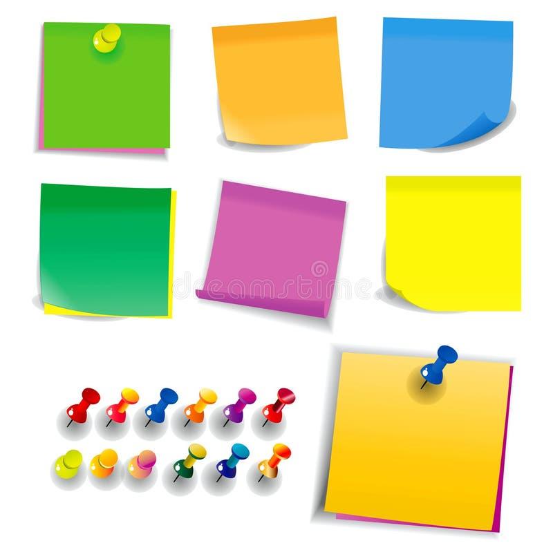 Kleurrijke kleverige nota het gebruiken in school of bureauactiviteit vector illustratie
