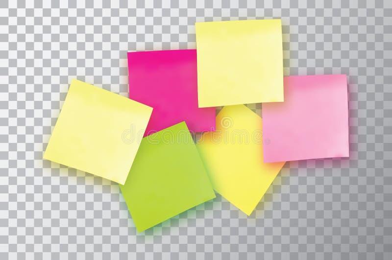 6 kleurrijke kleverige nota Malplaatje voor uw projecten Sticker zes royalty-vrije illustratie