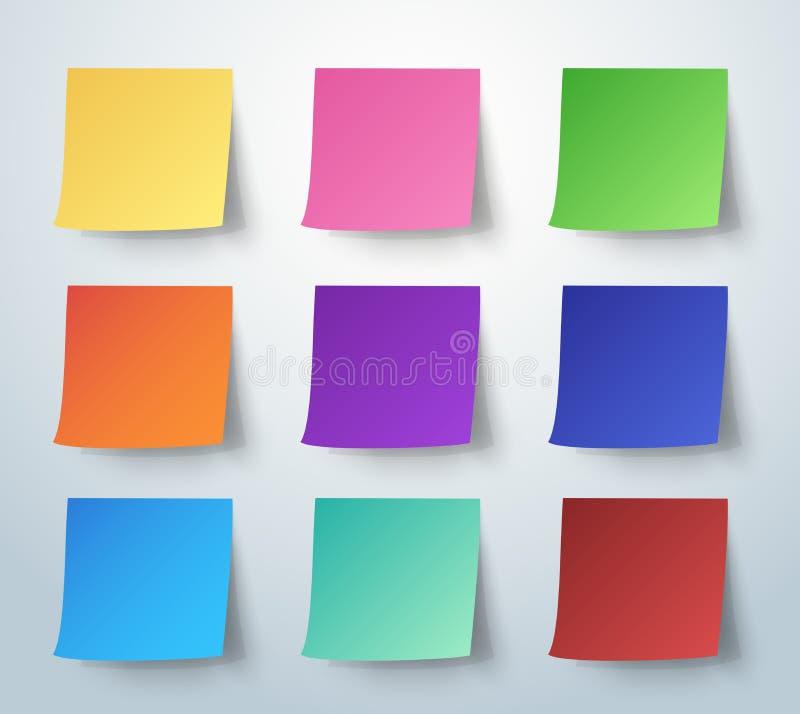 Kleurrijke kleverige nota, Post-it Vector illustratie vector illustratie