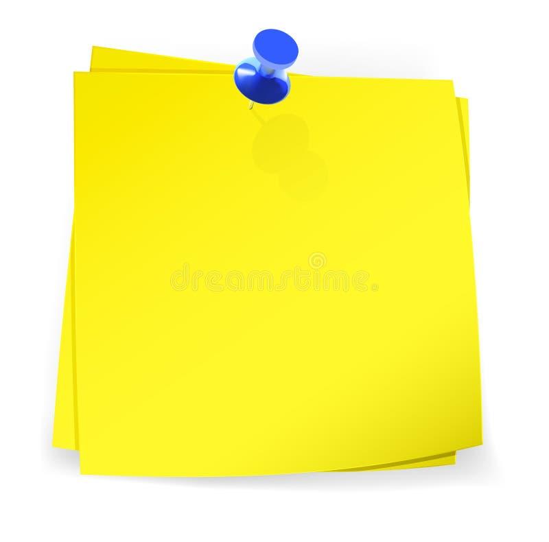 Kleurrijke kleverige nota's in bijlage met blauwe speld stock illustratie