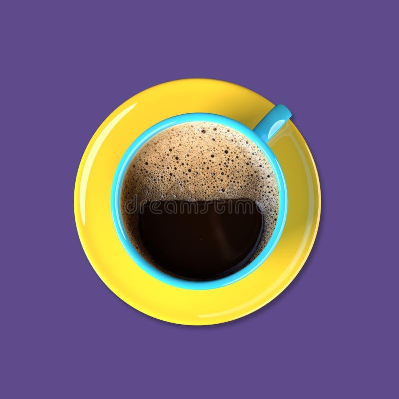 Kleurrijke koffiekop op een purpere achtergrond stock fotografie