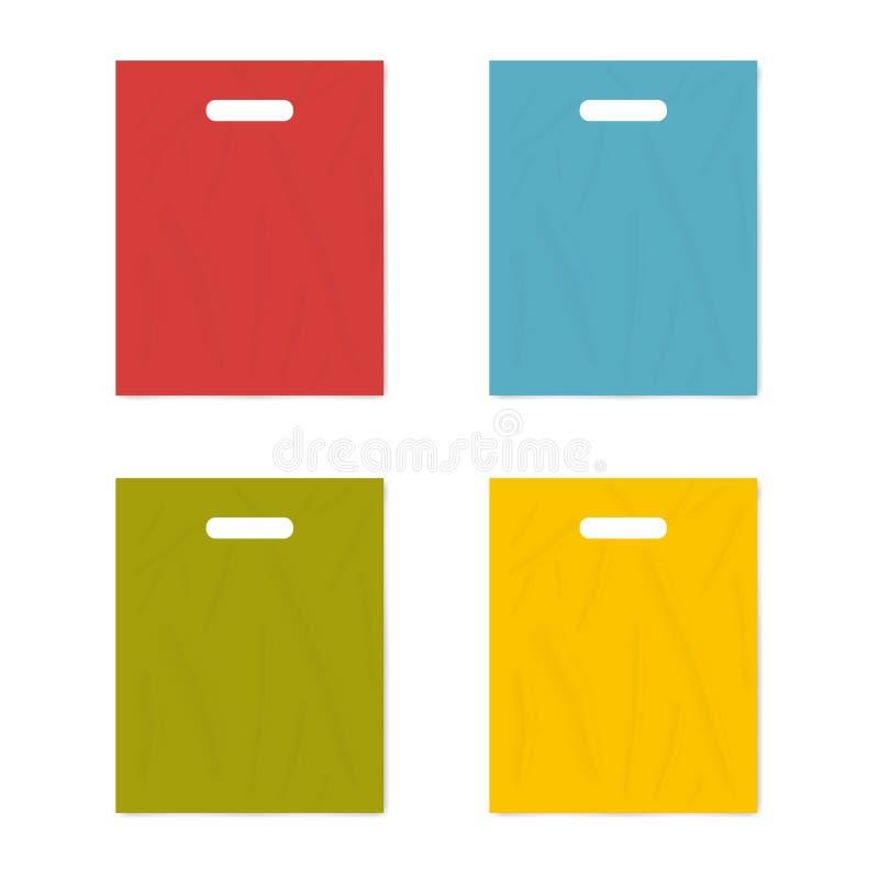 Kleurrijke koopwaar plastic zak met de handvatten van de matrijzenbesnoeiing die op witte achtergrond, realistische vectormodelre royalty-vrije illustratie