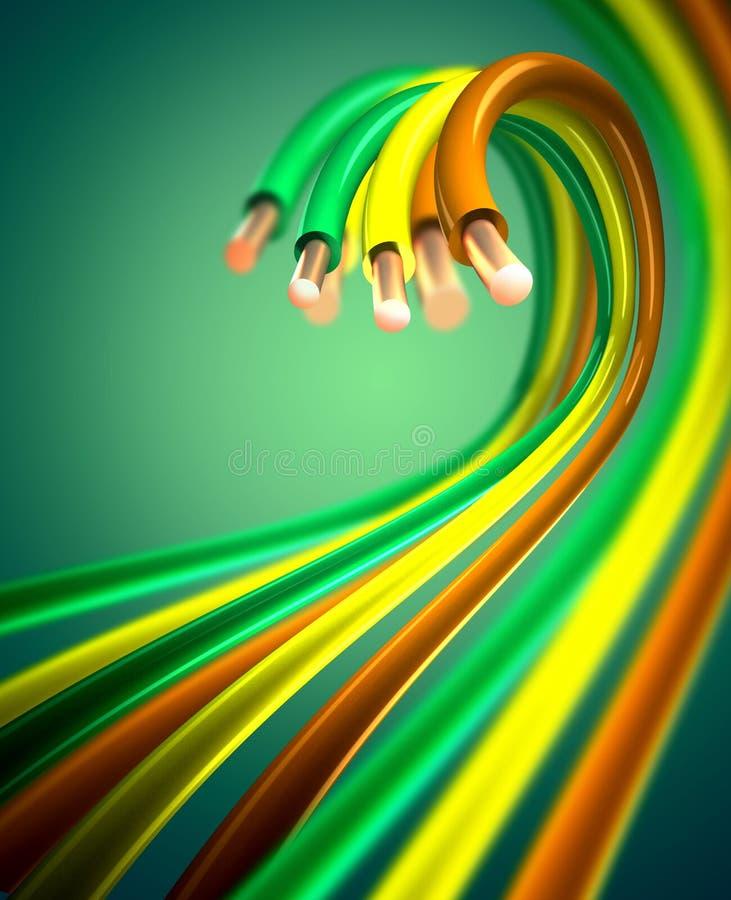 Kleurrijke koperkabels stock afbeelding