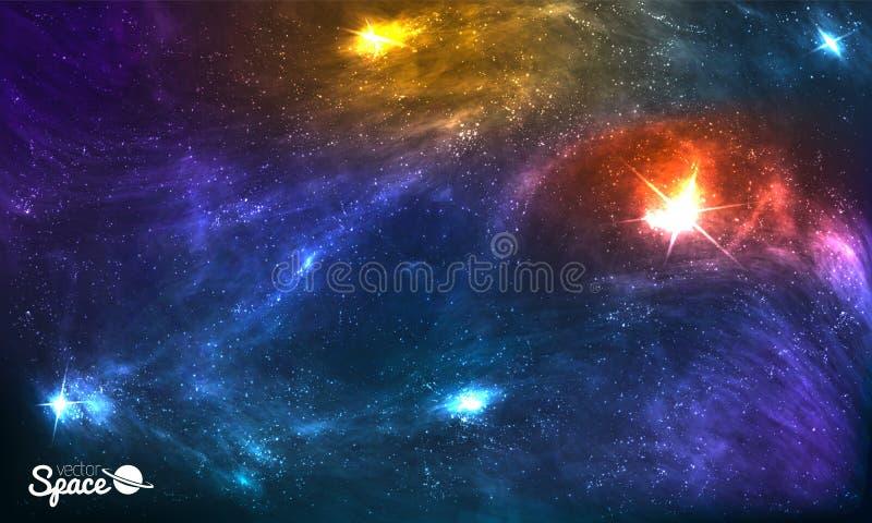 Kleurrijke Kosmische Achtergrond met Glanzende Sterren, Stardust en Nevel Vectorillustratie voor kunstwerk, partijvliegers vector illustratie