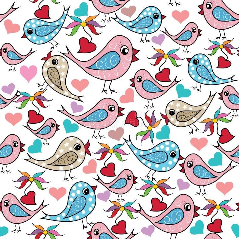 Kleurrijke krabbelhand getrokken vogels, liefdeharten, naadloze bloemen stock illustratie