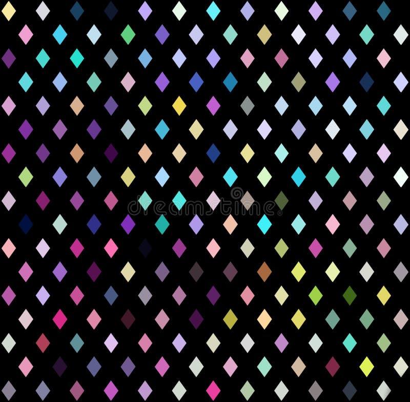 Kleurrijke kristallen op zwarte achtergrond Mozaïek digitaal patroon royalty-vrije illustratie