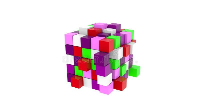 Kleurrijke kubus van gekleurde kubussen royalty-vrije stock afbeelding