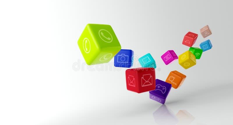 Kleurrijke kubussen met app pictogrammen op witte achtergrond stock illustratie