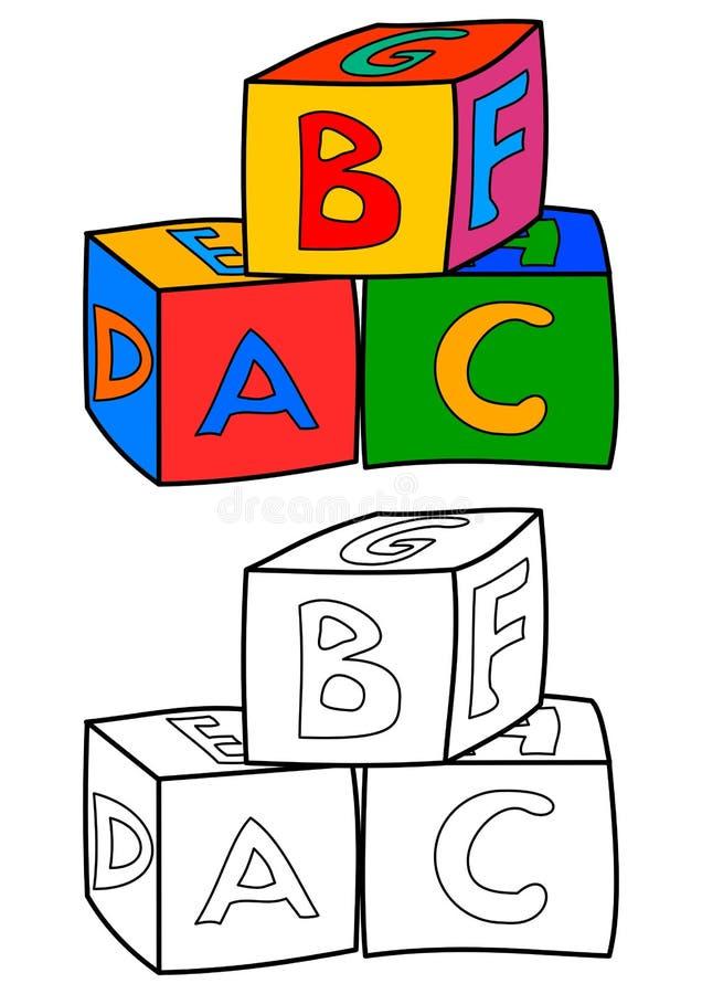 Kleurrijke kubussen met brieven zoals het kleuren van boeken voor kinderen - vector stock illustratie