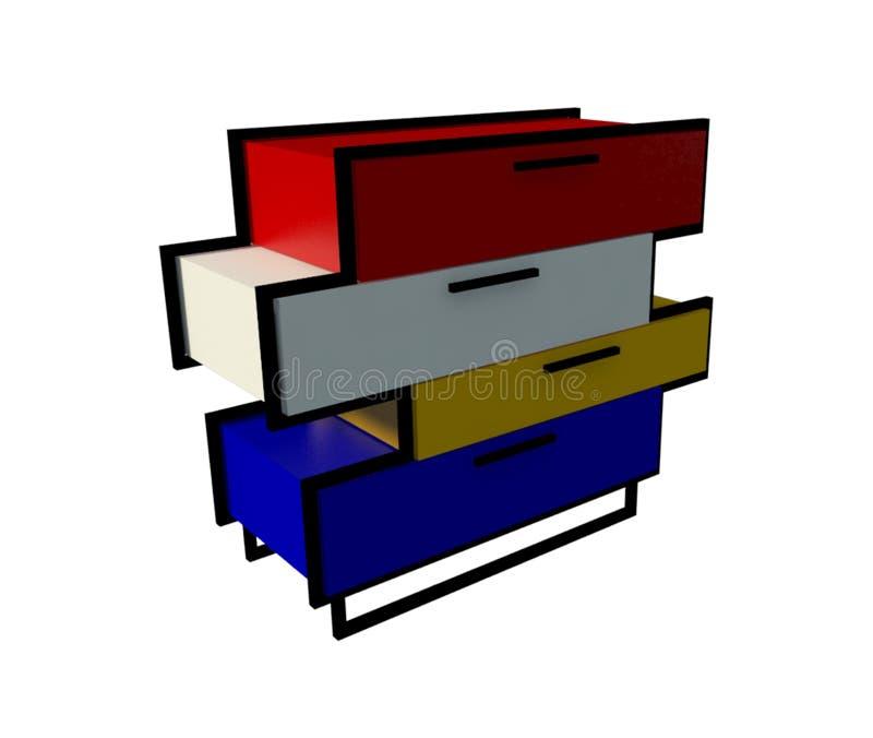 Kleurrijke lade stock illustratie