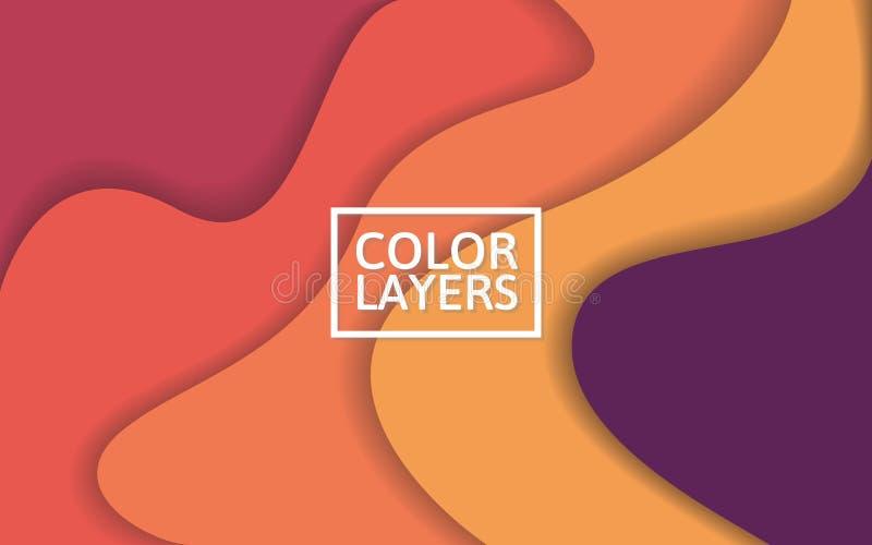 Kleurrijke lagenachtergrond Abstracte golven met zachte schaduwen 3D achtergrond voor Web of affiche Modern vectorontwerpmalplaat royalty-vrije illustratie