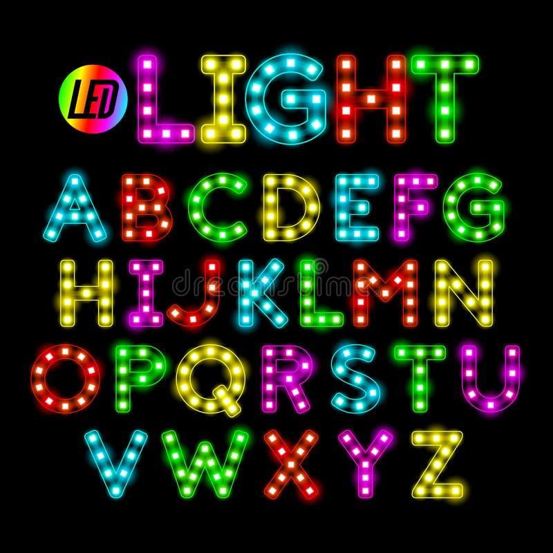 Kleurrijke LEIDEN strook licht alfabet royalty-vrije illustratie