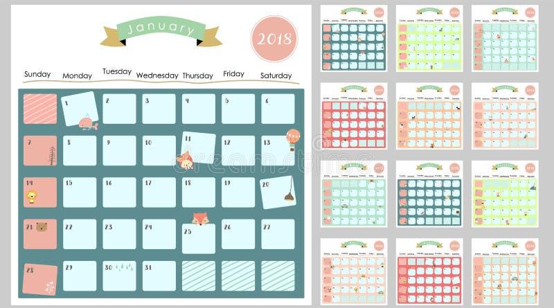 Kleurrijke leuke maandelijkse kalender 2018 met eekhoorn, eend, rendier, stock afbeelding