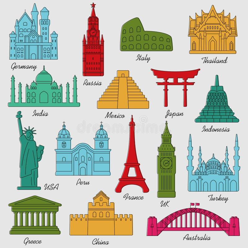 Kleurrijke lineaire het pictogramreeks van reisoriëntatiepunten Vector illustratie stock illustratie