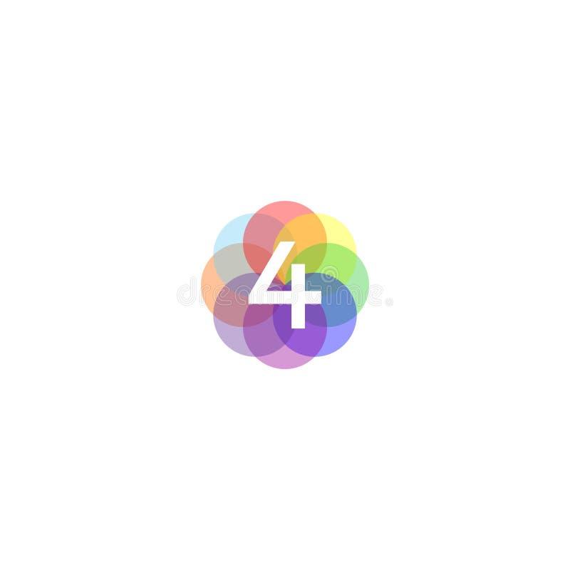 Kleurrijke 4 Logo Inspiration stock illustratie