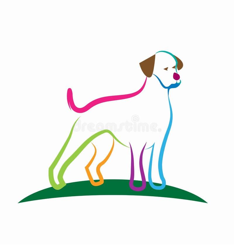 Kleurrijke loyale de kunstvector van de hondlijn stock illustratie