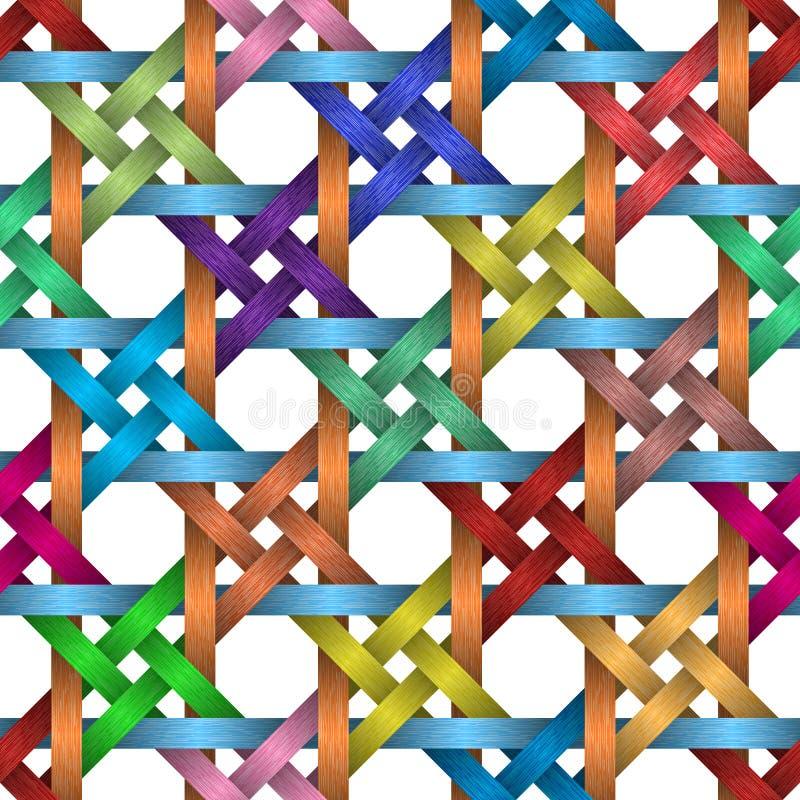 Kleurrijke mand, en vierkante naadloze achtergrond royalty-vrije illustratie