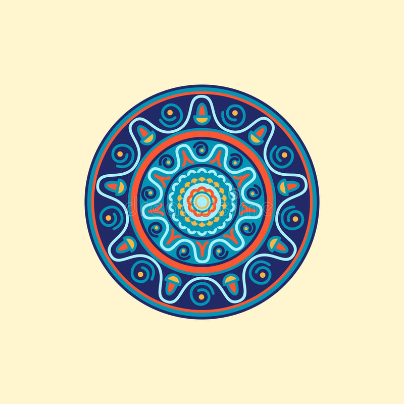 Kleurrijke mandala Decoratieve ronde ornamenten stock illustratie