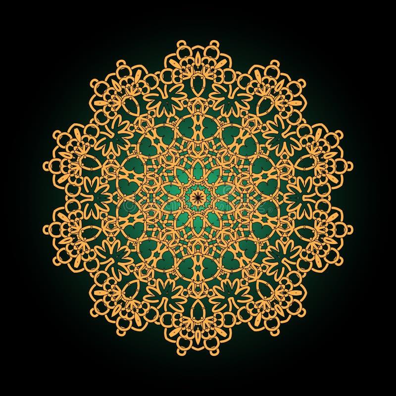 Kleurrijke mandala Gouden bloem Decoratief rond ornament anti vector illustratie