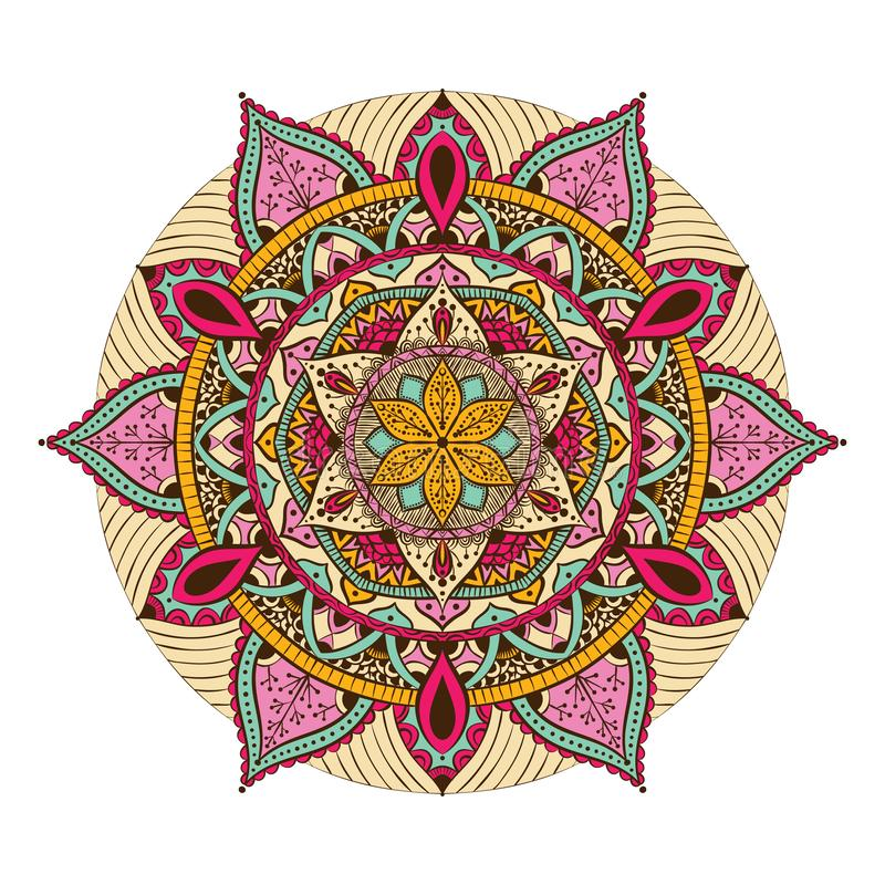 Kleurrijke mandala voor het kleuren van boek Decoratieve ronde ornamenten Ongebruikelijke bloemvorm Oosterse vector, Antistressth royalty-vrije illustratie