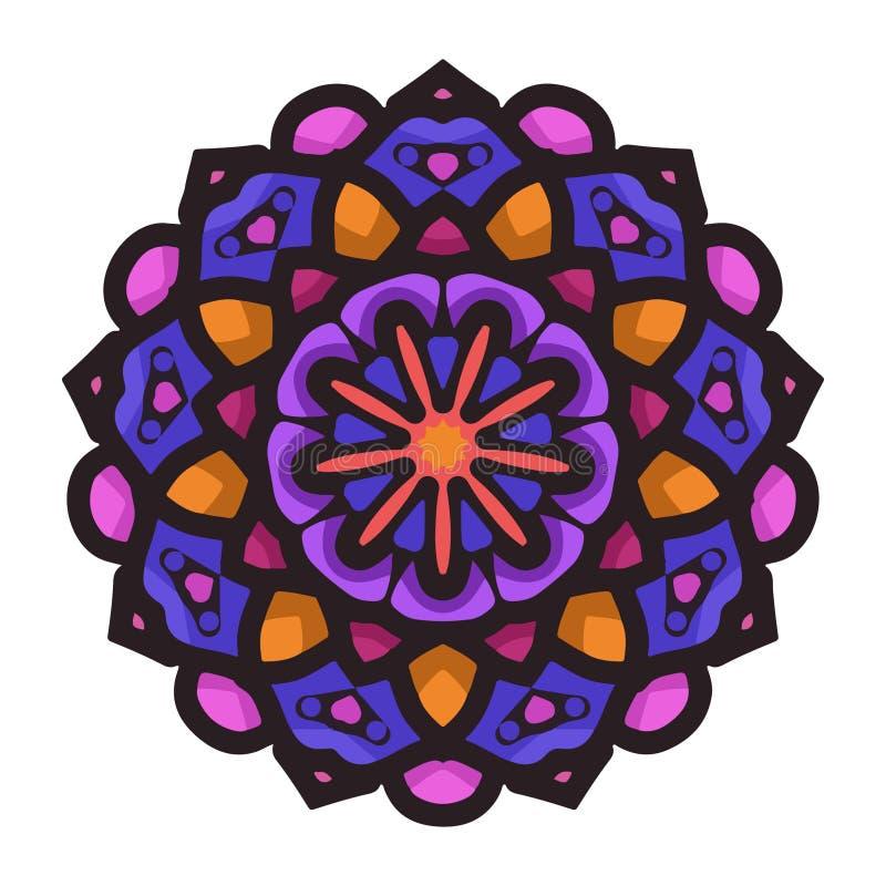 Kleurrijke mandalakunst met bloemenmotievenelement Indische mandalakunst met uitstekende stijl royalty-vrije illustratie