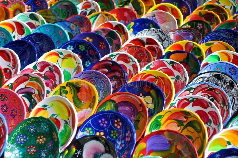 Kleurrijke Mayan Kommen voor Verkoop royalty-vrije stock foto's