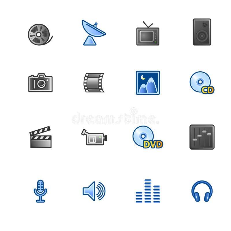 Kleurrijke media pictogrammen stock illustratie
